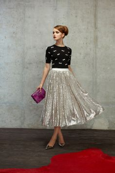 Alice + Olivia Pre-Fall 2014 - glittering skirt and tshirt with stilettos for glamorous style