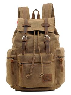 491d103e5405 Men Women Sport Schoolbag Military Book Bag Handbag Features  Condition  New  Material  Canvas with Real Leather Colour  Coffee