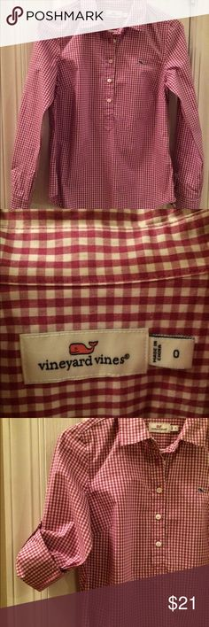 🐋Vineyard Vines button up EUC Vineyard Vines purple gingham pullover shirt....sleeves can be rolled and buttoned with tabs, shirt has 5 buttons up the front.                          Non-smoking home Vineyard Vines Tops Blouses