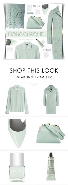 """""""Head to Toe Monotone: Mint"""" by cara-mia-mon-cher ❤ liked on Polyvore featuring Tara Jarmon, Steffen Schraut, Alexander Wang, Tammy & Benjamin, Nails Inc., Grown Alchemist and Too Faced Cosmetics"""