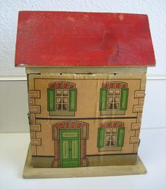 Antique German small cabinet size Red roof paper litho DOLLS HOUSE Antique Dollhouse, Wooden Dollhouse, Dollhouse Dolls, Miniature Dolls, Antique Collectors, Antique Toys, Small Cabinet, Red Roof, Gabel