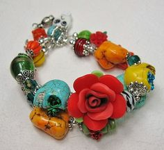 Sugar Skull Jewelry / Day of the Dead / by CayaCowgirlCreations, $35.00