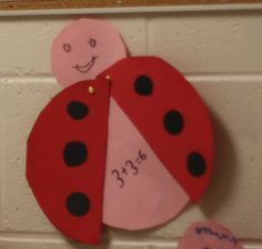This is a cute idea from Mrs. Goodroe, the wonderful kindergarten teacher across the hall from me who also came up with the other ladybug math idea. It is such a blessing to work with such talented teachers!!