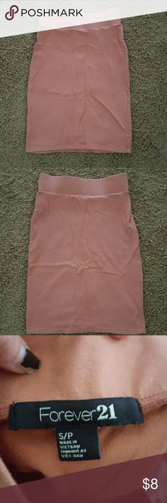 Forever 21 small high waist cotton body con skirt High waisted or roll down waist band for shorter fit. Salmon pink orange. A little faded Forever 21 Skirts Pencil