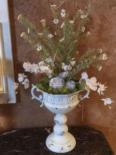 Farmhouse Vintage Inspired Urn Flor Arrangement Home Decor