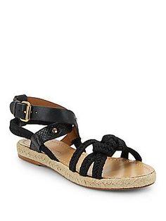 Isabel Marant Etoile Jute & Leather Sandals - Black - Size 3