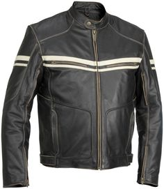 River Road Hoodlum Classic Street Riding Leather Motorcycle Jacket