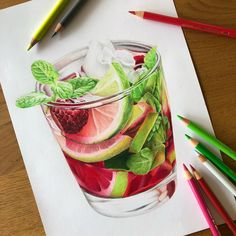 Art Drawings Sketches Simple, Pencil Art Drawings, Realistic Drawings, Colorful Drawings, Color Pencil Sketch, Colored Pencil Artwork, Art Folder, Drawing Projects, Cartoon Art Styles