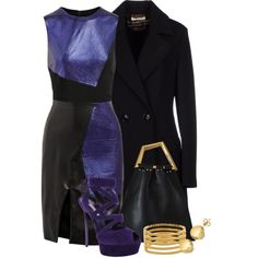 A fashion look from December 2015 featuring metallic dress, double-breasted coat and suede pumps. Browse and shop related looks.