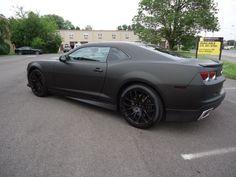 Matte Black Camaro. OHHH I LOVE MATTE BLACK CARS. AND CAMAROS.