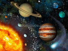 3D Solar System mural wallpaper