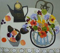 Nasturtiums and Peaches - Vanessa Bowman Art