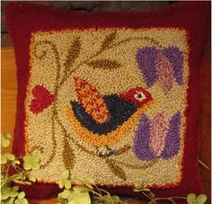 SPRING SONGBIRD...the design is drawn on weavers cloth and measures approximately 4.5 x 4.75. The pattern includes color photo on front cover, instruction sheet, a list of threads needed on back cover. Thread Kit consists of hand dyed colorfast Valdani #12 pearl cotton. Finished