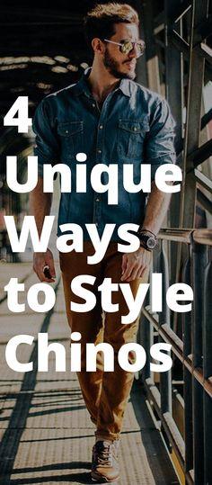 Fashion infographic, Mens fashion Dapper mens fashion, Fashion, Outfit grid men, Men style tips - 4 Ways to Style Your Chinos - Mens Fashion 2018, Mens Fashion Blog, Fashion Mode, Fashion Styles, Style Fashion, Fashion Tips, Fashion Trends, Stylish Men, Men Casual