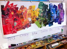 Entire class (teamwork!) rainbow collage. To be covered in clear packing tape tomorrow...
