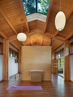 Yoga Studio by SHKS Architects | Photo Credit: Ben Benschneider | George Nelson Bubble Lamps | http://modernica.net/lighting/pendant/