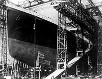 The Titanic as it was still under construction.  It took 2 years to build it, by White Star Line, which was considered to be the best ship builder ever.