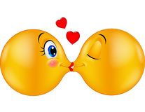 Cartoon Kissing emoticon Stock Image