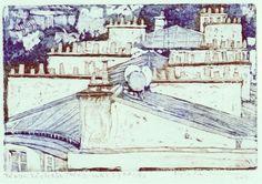 Mészos Marianna: Párizsi háztetők #paris #roof #etching #meszarosmarianna