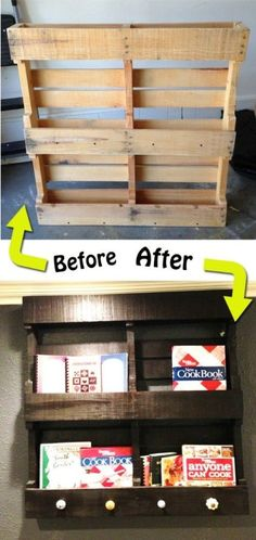 Wood Pallets Wood pallet shelves - 50 Decorative Rustic Storage Projects For a Beautifully Organized Home Pallet Crafts, Pallet Projects, Home Projects, Wood Crafts, Diy Pallet, Pallet Storage, Pallet Wood, Outdoor Pallet, Craft Projects