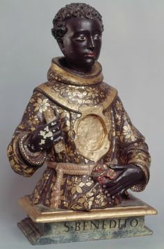 """medievalpoc: """" Anonymous Portuguese Artist Reliquary Bust of Saint Benedict of Palermo Portugal Polychrome Wood, 48 cm. The Image of the Black in Western Art Research Project and Photo Archive,. Goldscheider, Patron Saints, We Are The World, In This World, European History, Art History, Black Royalty, African Royalty, Black History Facts"""