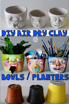 Most current Pic Air dry Clay vase Tips diy air dry clay bowls planters pots vase Clay Projects For Kids, Clay Crafts For Kids, Diy Crafts, Air Dried Clay Projects, Air Dry Clay Ideas For Kids, Vase Crafts, Garden Projects, Diy Projects, Clay Bowl