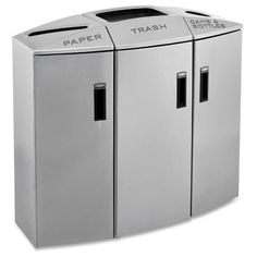 38 in. H x 40.3 in. W x 18 in. D Silver Metallic Element 3-Stream Recycle Station