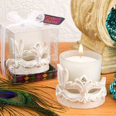 Bring the mystery, allure and vibrancy of the Mardi Gras into your next event with a stunning candle votive mask! Enchant your guests with a wild and romantic ambiance at your next event. This stunnin
