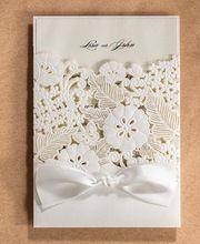 Flor del banquete de boda de corte láser personalizado tarjeta de invitación de boda con la cinta, fiesta de compromiso matrimonial wishmade convites, 100 UNIDS(China (Mainland))
