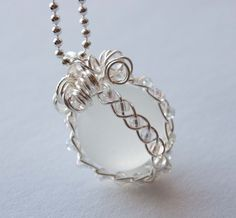 Irradescent Braided Marble Necklace, Wire Wrapped Jewelry, Bridal Gift
