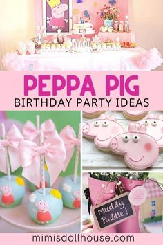 Peppa Pig Birthday Party Ideas | Mimi's Dollhouse Girl Birthday Decorations, Girls Birthday Party Themes, Girl Parties, Pig Birthday, Birthday Parties, Pig Party, Childrens Party, Unicorn Party, Peppa Pig