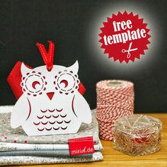 Free template: White owl gift box.