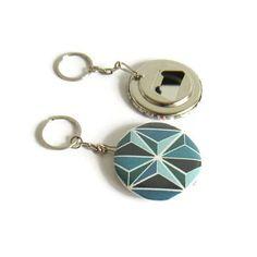 Porte-clé décapsuleur asanoha bleu porte-clé homme porte-clé Porte Clé Homme 286a6b18754