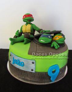Doces Opções: Bolo de aniversário com as Tartarugas Ninja
