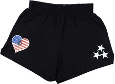 Dress comfortably for before and after practice with these patriotic Soffe shorts. These black shorts are decorated with white vinyl and printable vinyl and pair perfectly with Snowflake's grey American Made gymnastics tank top. Gymnastics Grips, Cheer Shorts, Soffe Shorts, Gymnastics Outfits, Snowflake Designs, Street Outfit, Black Shorts, American Made, Kids Wear