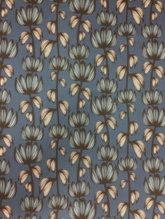 Gray tablecloth with striped blue flowers and striped white leaves, Scandinavian design, modern style by SiKriDream on Etsy