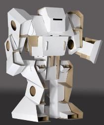 cardboard robot assembled in sections from flat sheets.