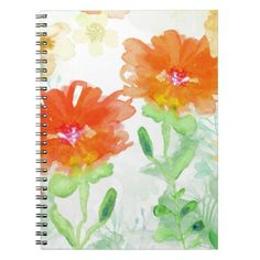 Coral Floral Notebook - floral gifts flower flowers gift ideas