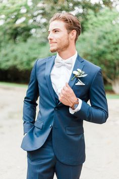 Groom in Blue Tux and Bowtie