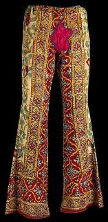"""If those Pants Could Talk! Janis Joplin's bell bottoms are featured in """"The 1968 Exhibit"""" at the Oakland Museum through August 19, 2012. Comprised of Indian block print with a patchwork flower power crotch, these are an artful sample of the period's hippie fashion. Photo courtesy: Minnesota History Center"""