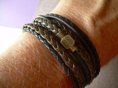 Triple Wrap Leather Bracelet with an by UrbanSurvivalGearUSA
