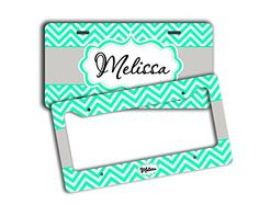 Monogram chevron license plate and frame  Mint green and gray  monogrammed name car tag vanity front license plate and frame SET ** Want to know more, click on the image.Note:It is affiliate link to Amazon.