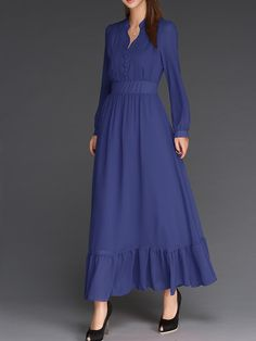 Cheap women chiffon dress, Buy Quality sleeve dress directly from China maxi boho dress Suppliers: 2017 Summer women chiffon dress stand long sleeve dress robe boheme Floor-Length maxi boho dresses solid vestidos dress Muslim Fashion, Modest Fashion, Hijab Fashion, Fashion Dresses, Trendy Dresses, Modest Dresses, Simple Dresses, Hijab Mode, Hijab Stile