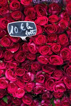 Paris Photograph - Crimson Roses in Paris Market, French Travel Photograph, Large Wall Art, Romantic Home Decor