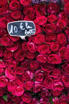 Paris Photograph - Crimson Roses in Paris Market, French Travel Photograph, Large Wall Art, Romantic Home Decor
