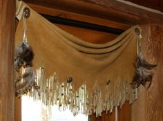 drapery valence of deer skin and concho decorations for rustic room design ideas drapery valence of Western Style, Rustic Western Decor, Rustic Room, Modern Rustic, Southwestern Decorating, Southwest Decor, Southwest Style, Southwestern Shower Curtains, Home