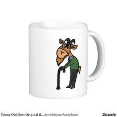 Funny Old Goat Original Art Cartoon Classic White Coffee Mug