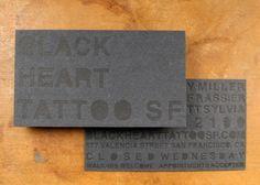 Paper Monkey Press for Black Heart Tattoo business cards | tattoos picture tattoo business cards