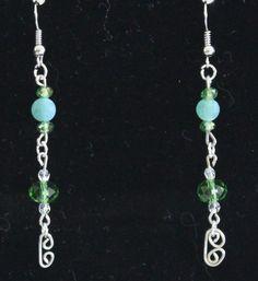 green jade and Swarovski crystal wire work earrings.