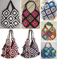 Pattern … Bag Of 13 Squares Crochet Square Motifs Patterns …Easy Crochet for beginners - crochet patterns / diagrams of crochet Bags Hats Scarves Shawls Sweaters Crochet Shell Stitch, Easy Crochet, Crochet Hooks, Free Crochet, Knit Crochet, Crochet Style, Crochet Handbags, Crochet Purses, Crochet Vintage